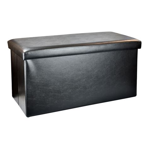 Large Faux Leather Ottoman Large Folding Faux Leather Ottoman Storage Chest Blanket Bedding Box Pouffe Seat