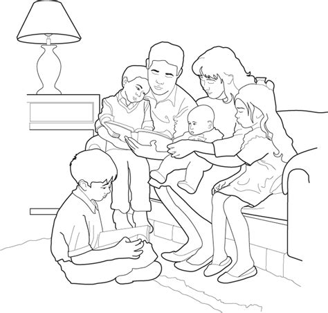 Family Reading Coloring Page | family home evening