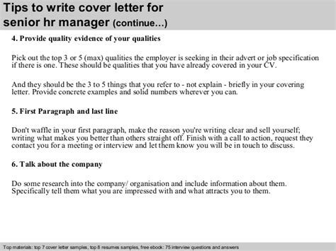cover letter for hr manager senior hr manager cover letter