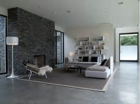 modern living room with concrete floor and minimal