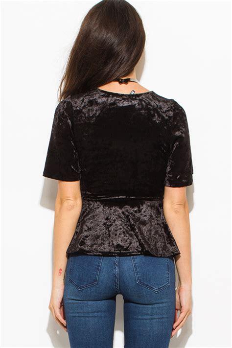 Black Wide V Neck Top Z167 shop black crushed velvet wide sleeve v neck faux wrap