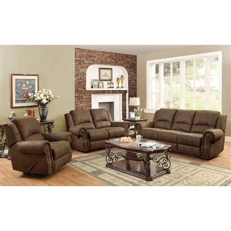 Coaster Rawlinson Microfiber Motion Reclining Sofa Set In Microfiber Sofa And Loveseat Set