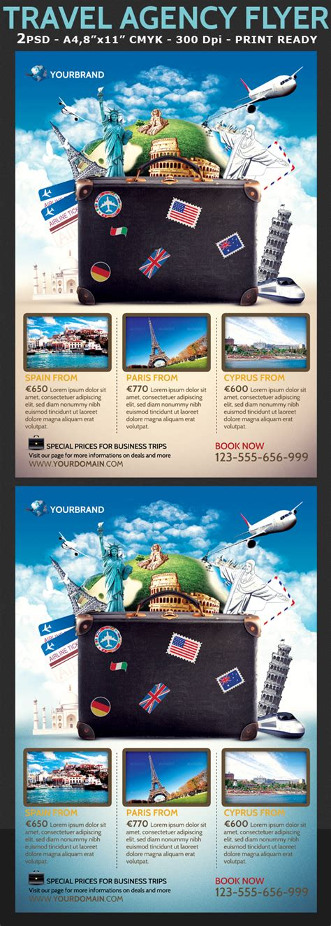 travel agency promotional flyer template  behance