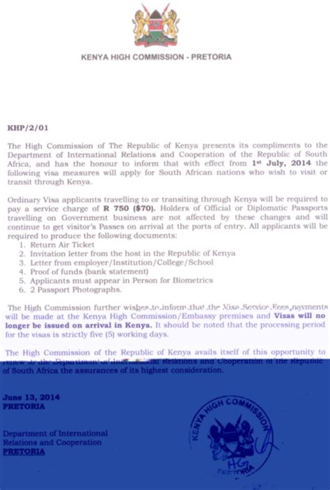 Invitation Letter Kenya new visa requirements by kenya for south citizens