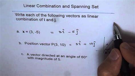 write vectors  linear combination  unit vectors