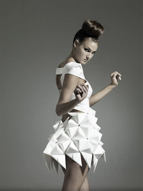 Origami Inspired Fashion - couture elegance nintai origami inspired geometric dresses