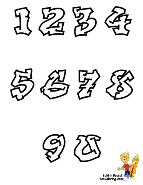 printable graffiti numbers free coloring pages of graffiti numbers