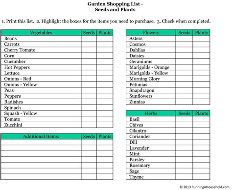 vegetable seed checklist Archives   Running A Household
