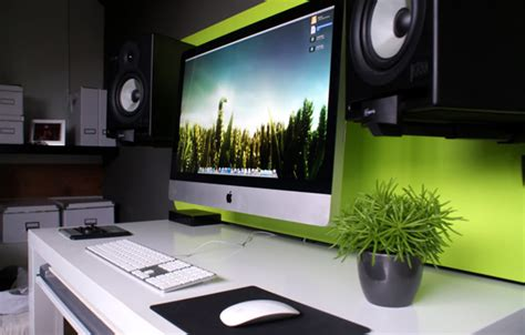 green imac computer desk with sound system ideas