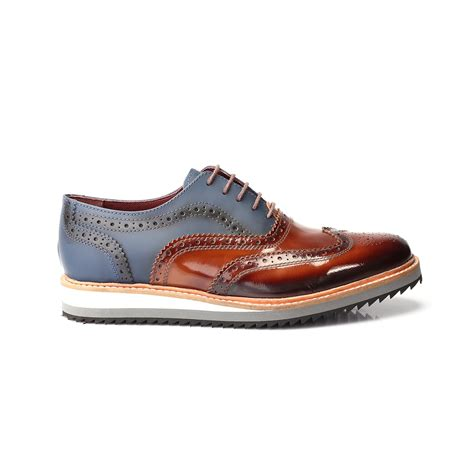 Koku Footwear Wingtip Oxfords Size 44 mixed texture color blocked perforated wingtip oxford