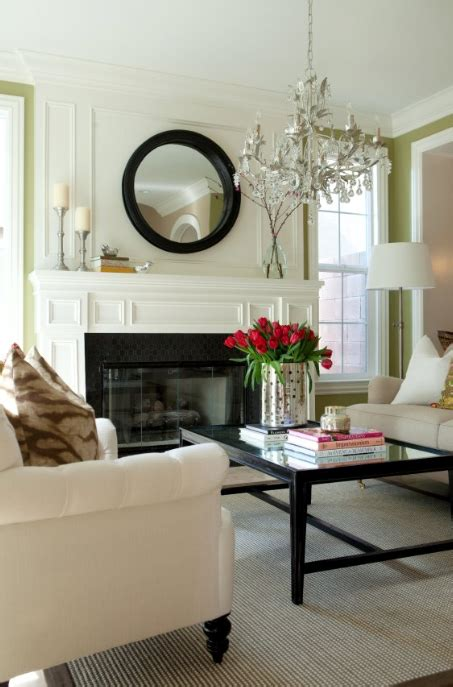 black convex mirror transitional living room belmont
