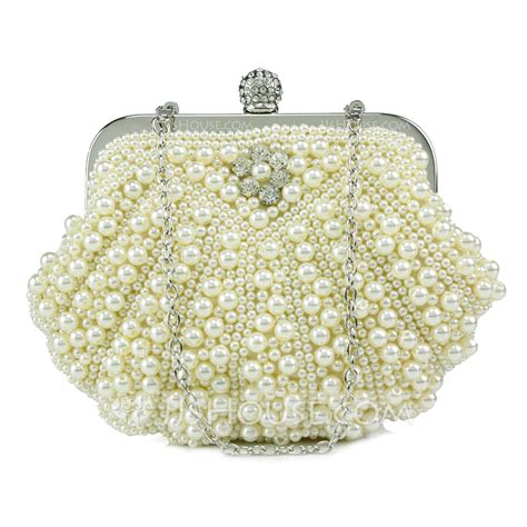 Clutch With Pearl 11 1 E1 1 gorgeous pearl with rhinestone clutches 012053570 clutches evening bags jjshouse