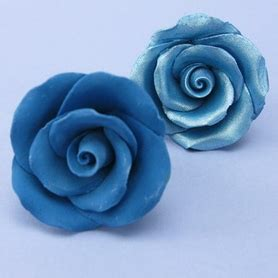 Handmade Sugar Roses - small handmade sugar in antique blue