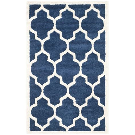 3 X 5 Outdoor Rug Safavieh Amherst Navy Beige 3 Ft X 5 Ft Indoor Outdoor Area Rug Amt420p 3 The Home Depot