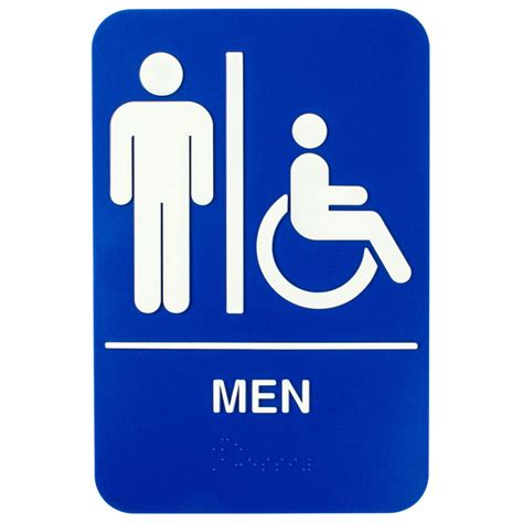 men bathroom sign ada men s restroom sign with braille blue and white 9 quot x 6 quot