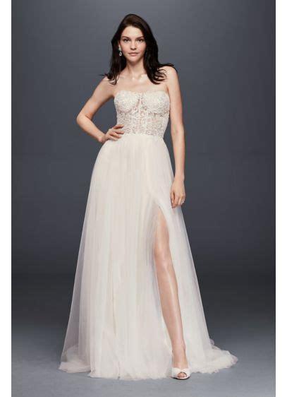 Line Slit a line wedding dress with tulle slit skirt david s bridal