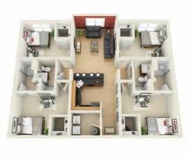 four bedroom houses planos para apartamentos con 4 habitaciones