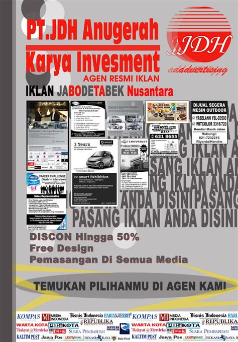 layout iklan cetak advertising pemasangan iklan di semua media cetak