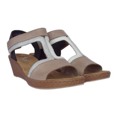 comfortable wedges sandals rieker antistress key largo women s comfortable beige