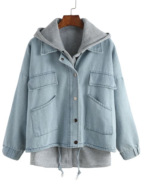 Outer Wear by Hooded Drawstring Denim Outerwearfor Romwe
