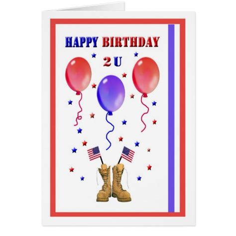 printable military greeting cards military patriotic birthday card zazzle
