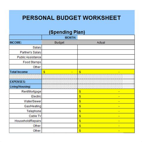 personal budgets templates sle personal budget documents in pdf word excel