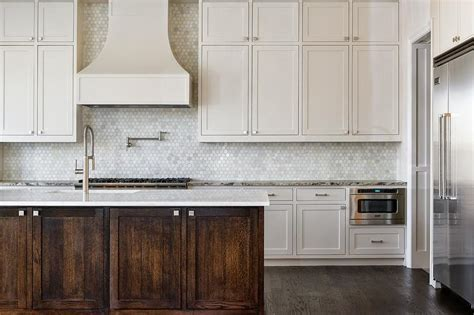 kitchen with marble hex tile backsplash transitional