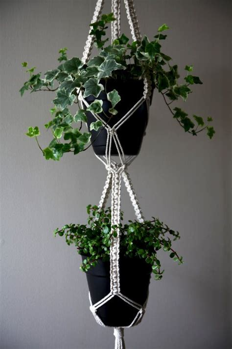 String Plant Hanger - macrame plant hanger 60 quot knotted white cotton