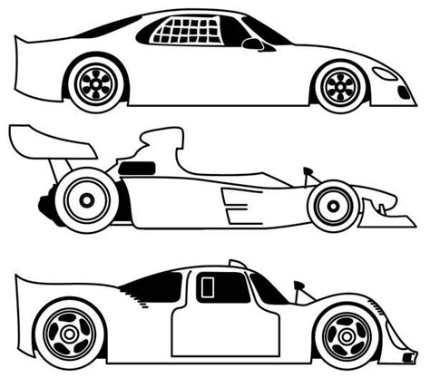 Different Cars Coloring Pages | three different race car coloring page free printable