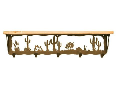 34 quot desert metal wall shelf and hooks with alder