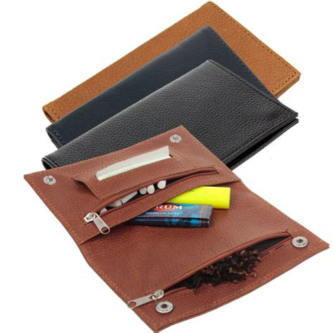 Roll On Pouch Slot 3 top grade genuine leather hookah cigarette tobacco pouch w rolling tip paper holder slot