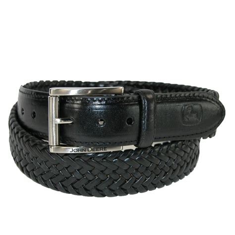mens leather braided stretch belt by deere dress