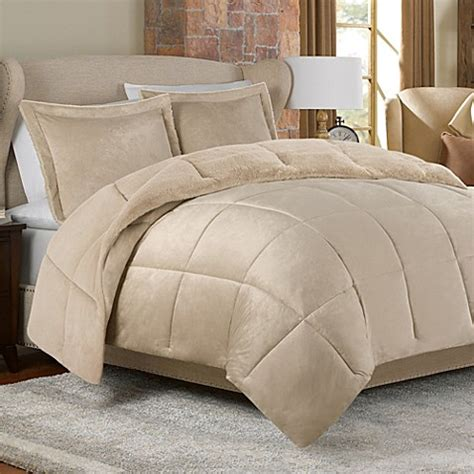 mink faux fur comforter set in tan bed bath beyond