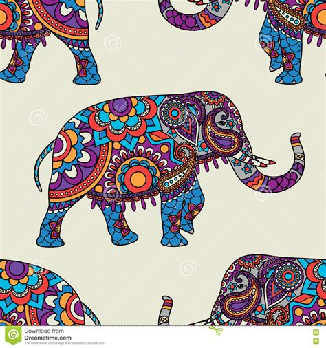 indian elephant doodle doodle indian elephant seamless pattern stock vector