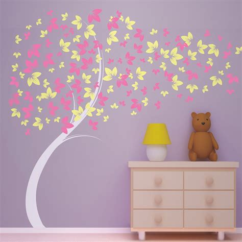 wall decals for girls bedroom curvy blowing tree vinyl wall decal great for little