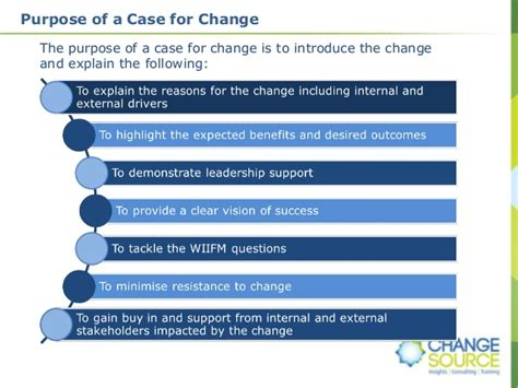 how to build a case for change