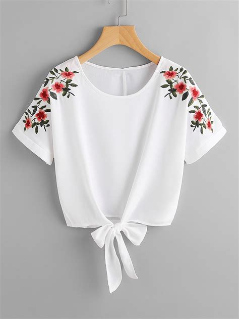 embroidery clothes shop flower embroidery knot front top shein offers