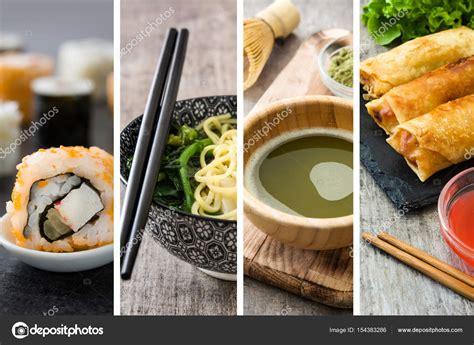 Sopu Matcha Green Tea food collage with sushi green matcha tea wonton soup and rolls stock photo