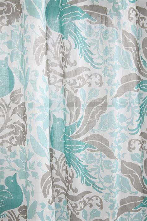 Teal And Gray Curtains Bird Flourish Curtain