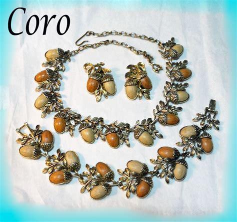 coro acorn necklace bracelet earrings parure from