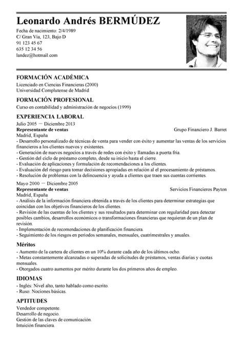 Ejemplo Curriculum Analista Financiero Modelo De Curr 237 Culum V 237 Tae Representante De Ventas Representante De Ventas Cv Plantilla