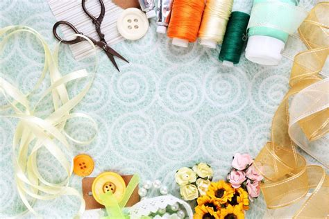 craft your wallpaper scrapbooking craft materials on light background stock