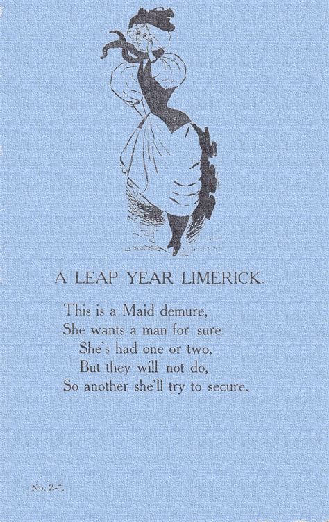 new year limerick nothing but limericks a demure a vintage leap year