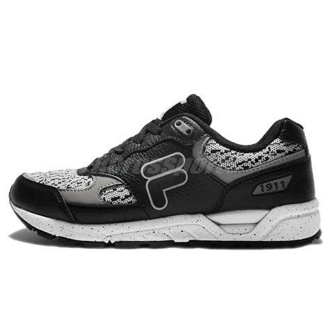 Fila Grey fila j313q black grey white mens cushion running shoes