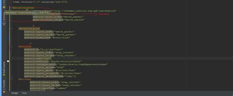 android layout xml namespace android studio unknown attribute in xml and namespace not