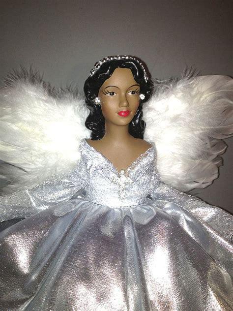 silver african american christmas tree top angel black