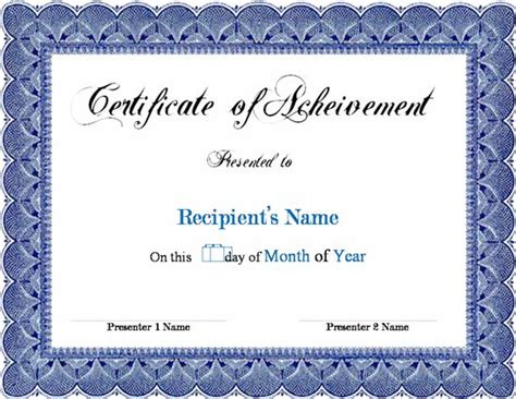 13 New Certificate Of Achievements Certificate Templates Microsoft Word Template Certificate