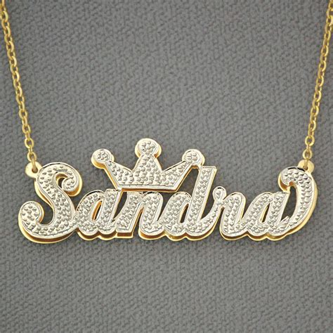 10k gold personalized 3d plate name pendant