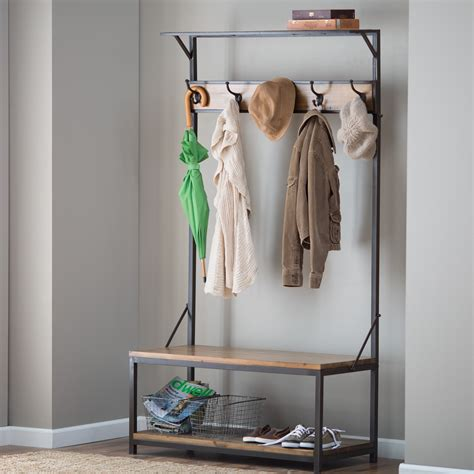 entryway bench with storage and coat rack metal entryway bench with wood seat shoe coat rack