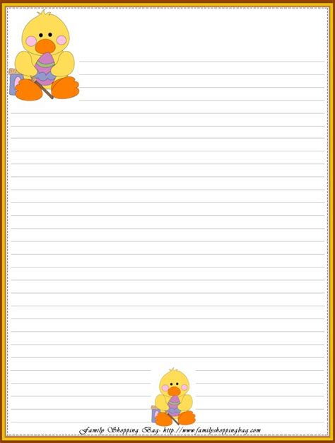 printable lined easter stationery easter stationery file name easter ducky 202702 png